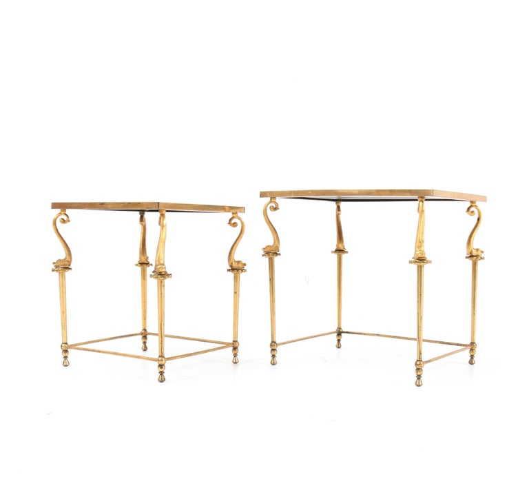 Two Gilt Metal Hollywood Regency Side Tables, 1970s For Sale 1