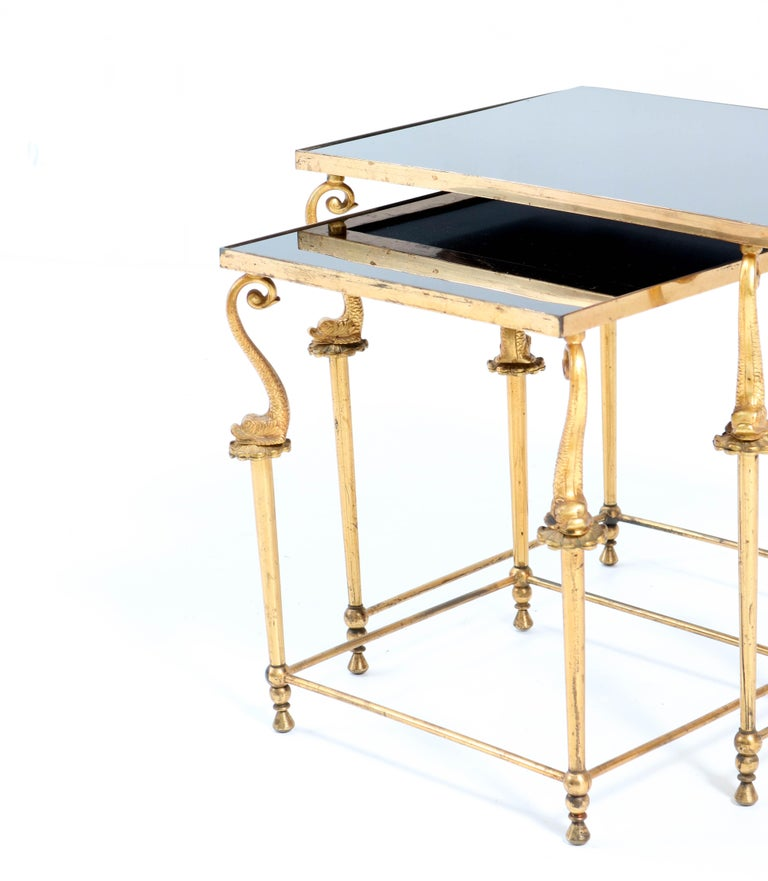 Two Gilt Metal Hollywood Regency Side Tables, 1970s For Sale 3