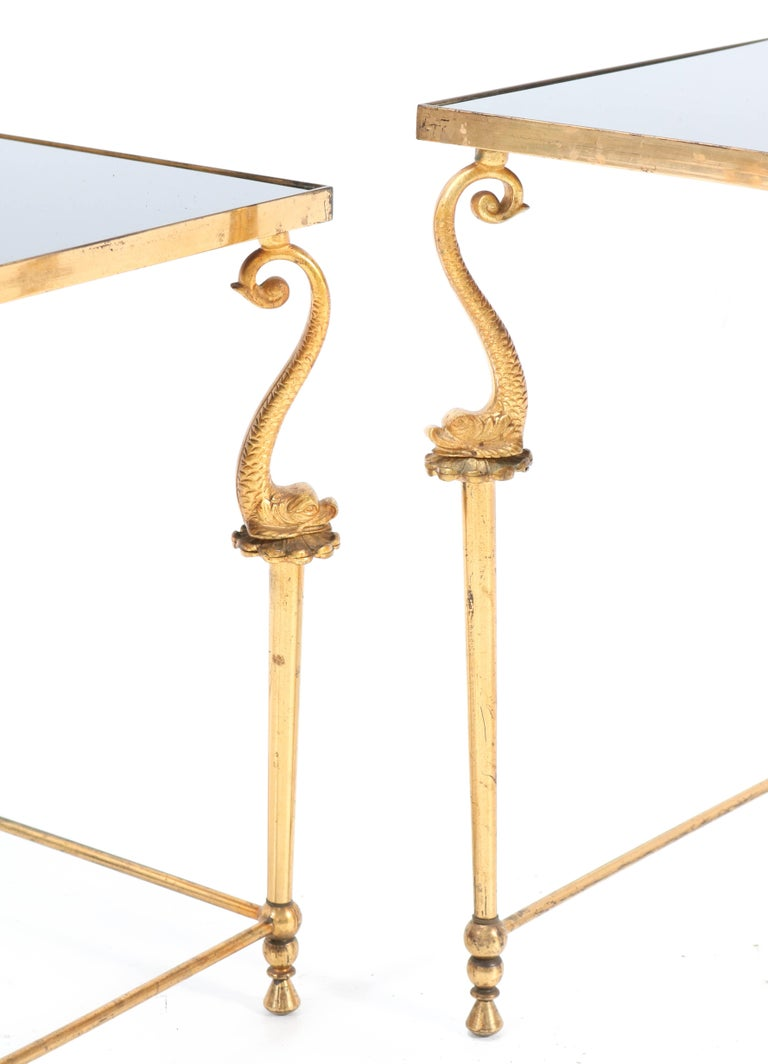 Two Gilt Metal Hollywood Regency Side Tables, 1970s For Sale 4
