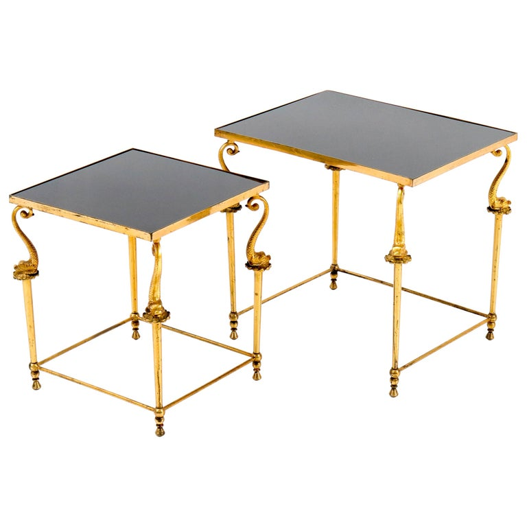 Two Gilt Metal Hollywood Regency Side Tables, 1970s For Sale
