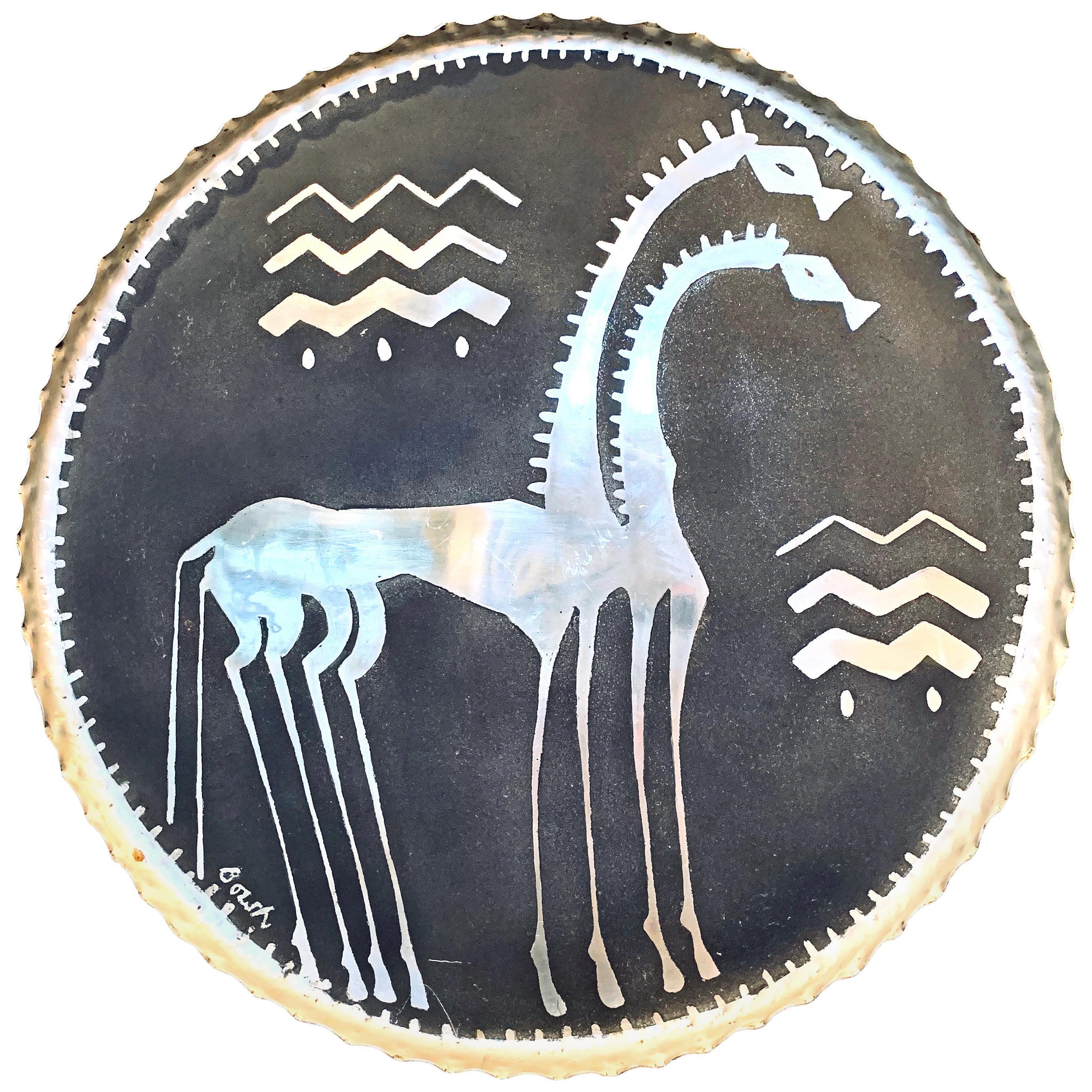 """Two Giraffes,"" Fabulous, Large Art Deco Rondel in Enameled Aluminum, Unique"