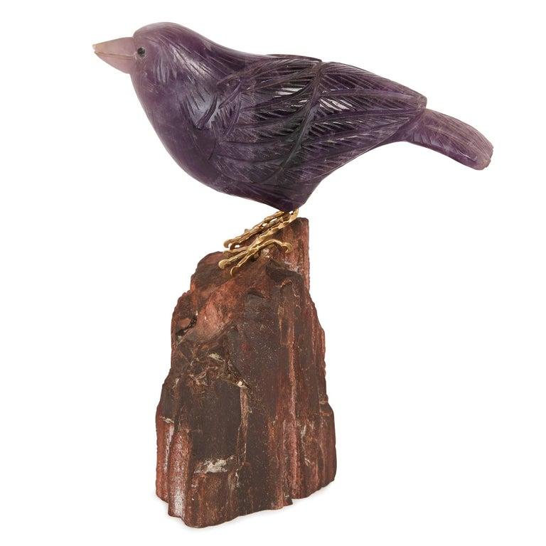 European Two Gold and Semi-Precious Stone Bird Models For Sale