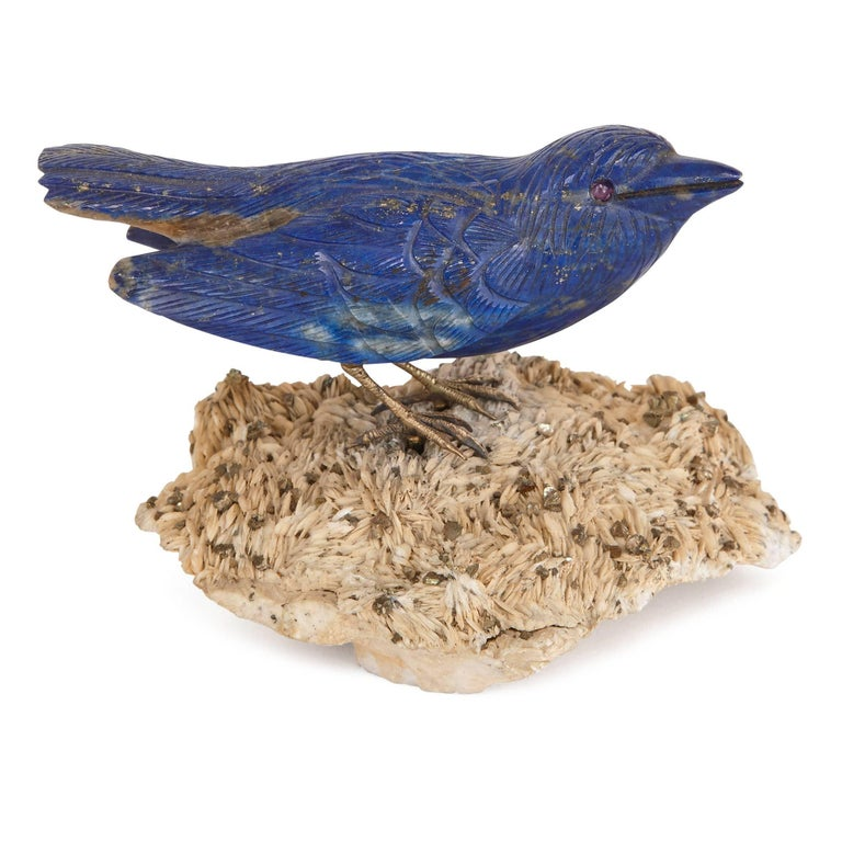 20th Century Two Gold and Semi-Precious Stone Bird Models For Sale