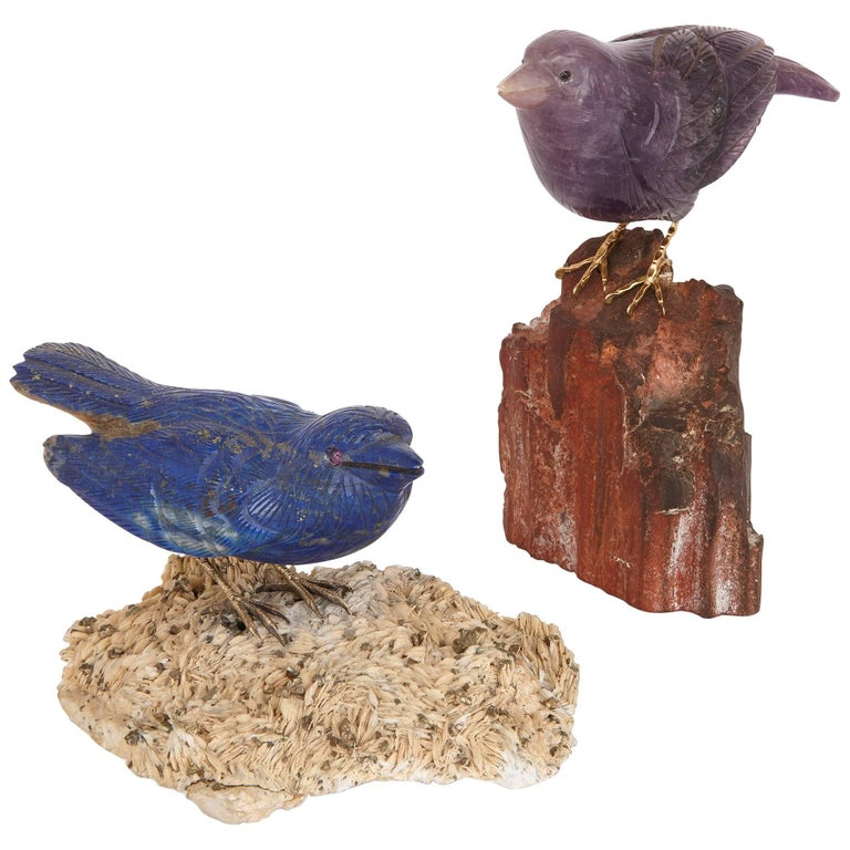 Two Gold and Semi-Precious Stone Bird Models For Sale