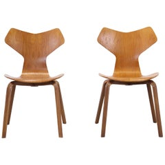 Two Grand Prix Seats in Teak by Arne Jacobsen for Fritz Hansen