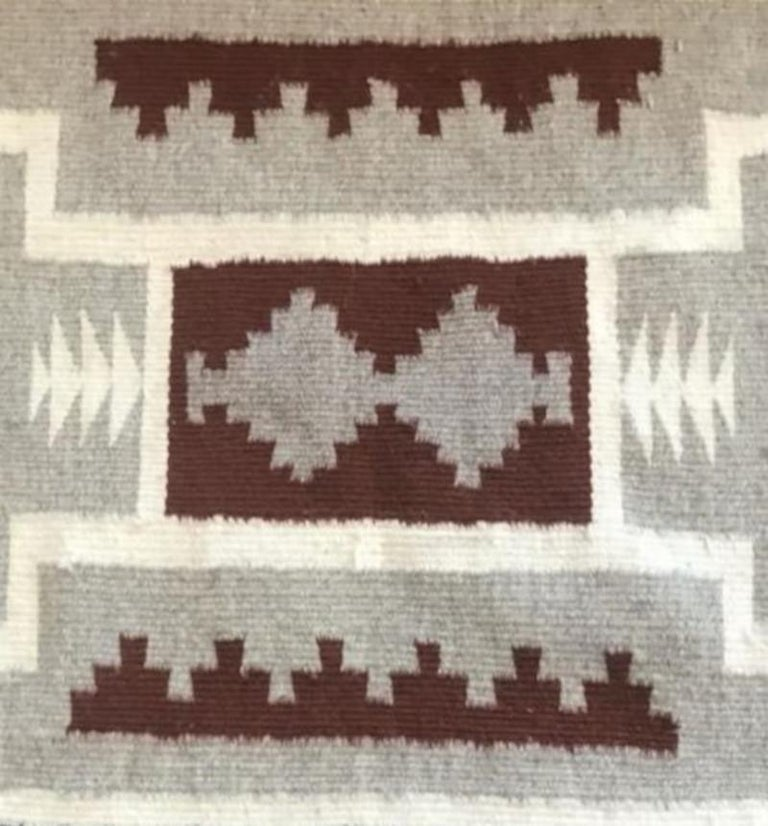 Hand-Knotted Two Grey Hills Navajo Rug For Sale