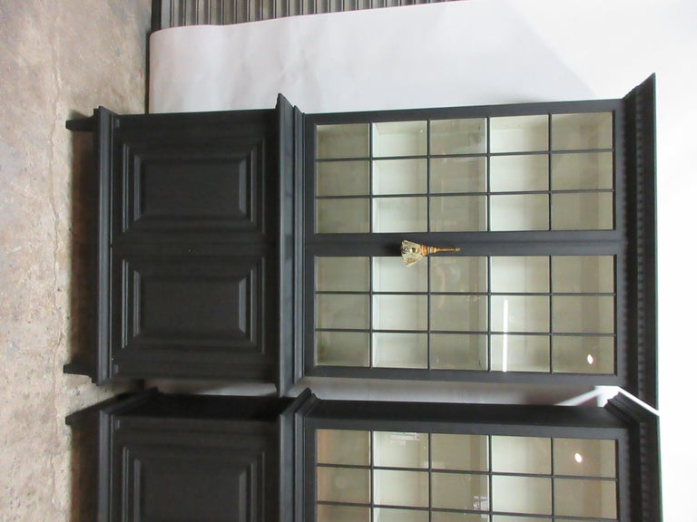 This is a set of two Gustavian style glass top hutches, they have been restored and repainted with Milk Paints