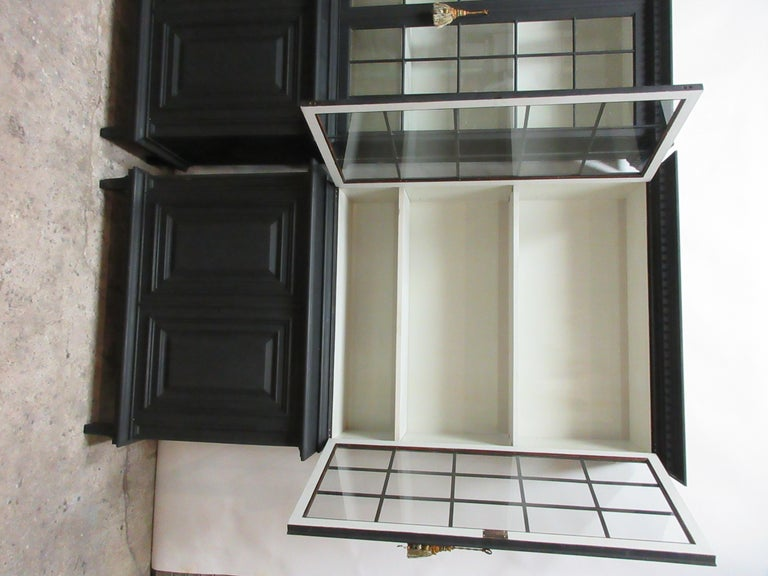 Mid-20th Century Two Gustavian Style Glass Top Hutches For Sale