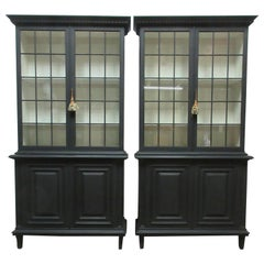 Two Gustavian Style Glass Top Hutches