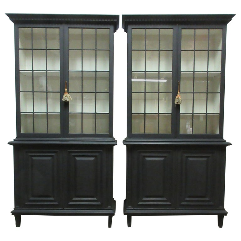 Two Gustavian Style Glass Top Hutches For Sale