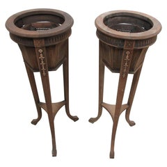 Two Gustavian Wood and Cane Plant Stands