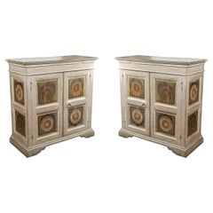 Two Hand Painted 19th Century, Tuscan Cabinets