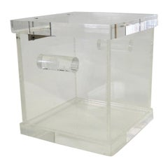 Two Handle Lucite Box Ice Bucket with Hinged Lid