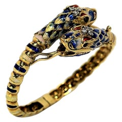 Two Headed Snake Bypass Bangle in Gold with Enamel and Diamonds