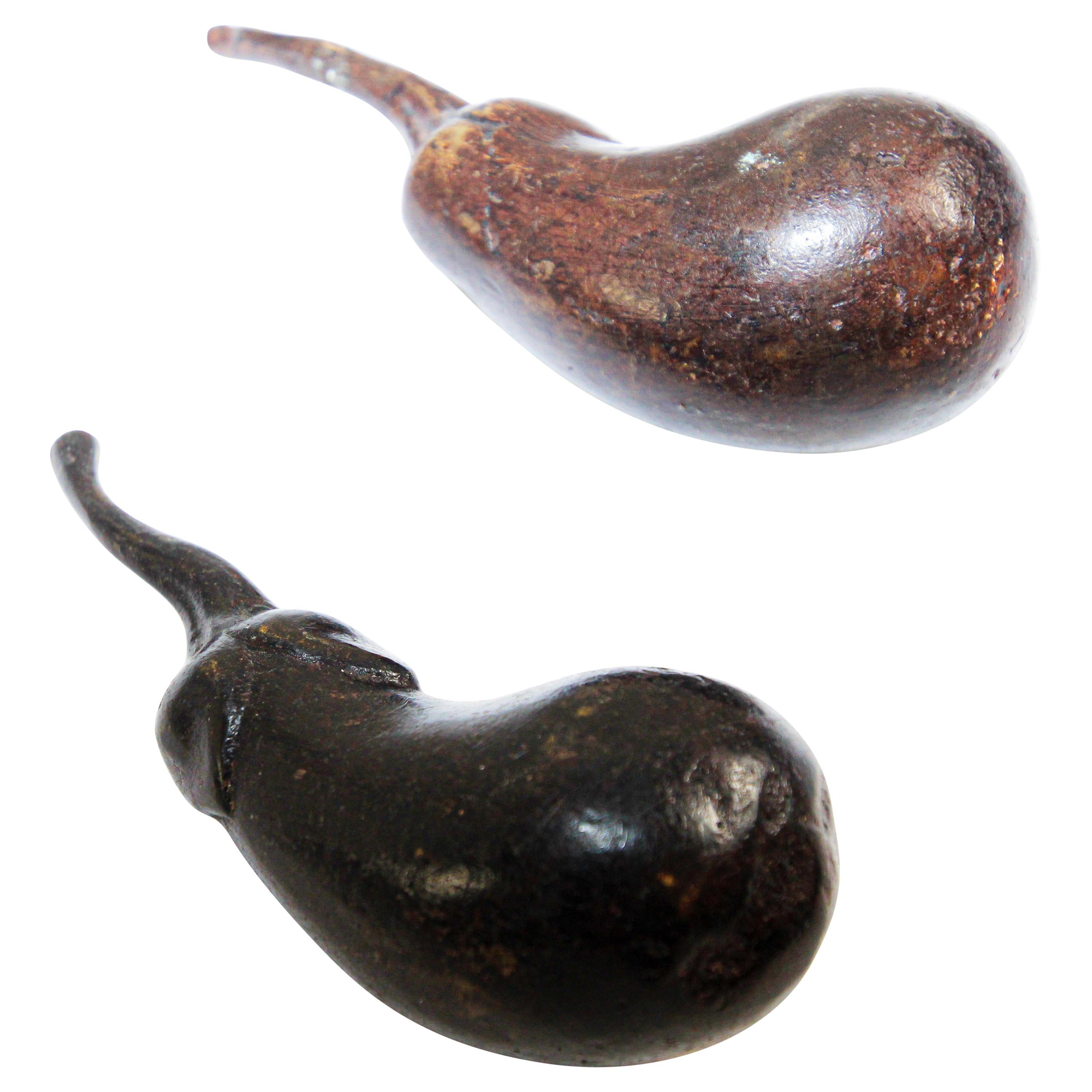 Two Heavy Sculpture Bronze Eggplant Paperweight