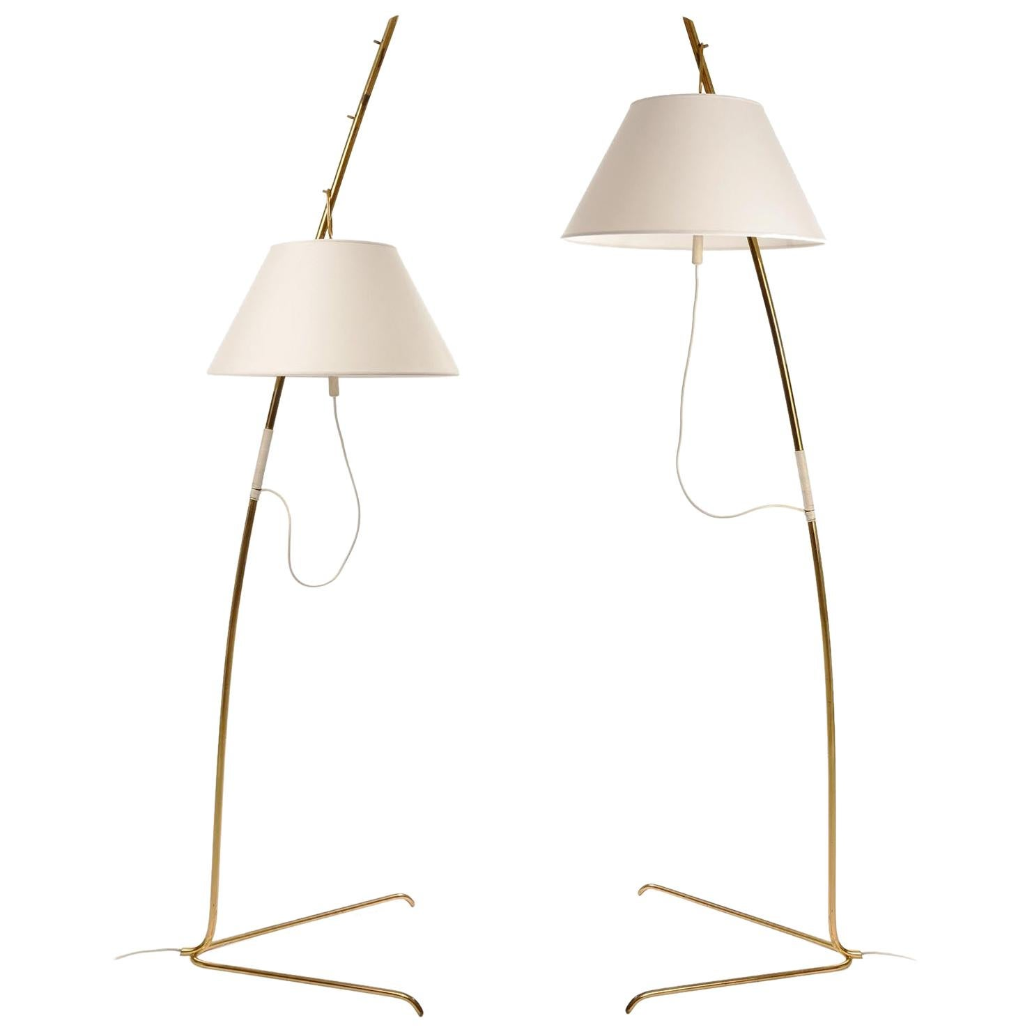 """Set of 2 Polished Brass 32/"""" Table Lamps"""