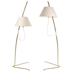 One of Two Height Adjustable Kalmar Brass Floor Lamps 'Cavador' No. 2098, 1960