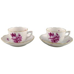 Two Herend Coffee Cups with Saucers in Hand Painted Porcelain, 1950s