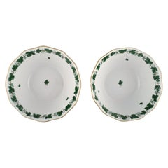 Two Herend Green Grape Leaf & Vine Bowls in Hand-Painted Porcelain, Mid-20th C