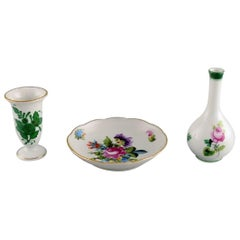 Two Herend Miniature Vases and a Small Dish in Hand-Painted Porcelain, 1980s