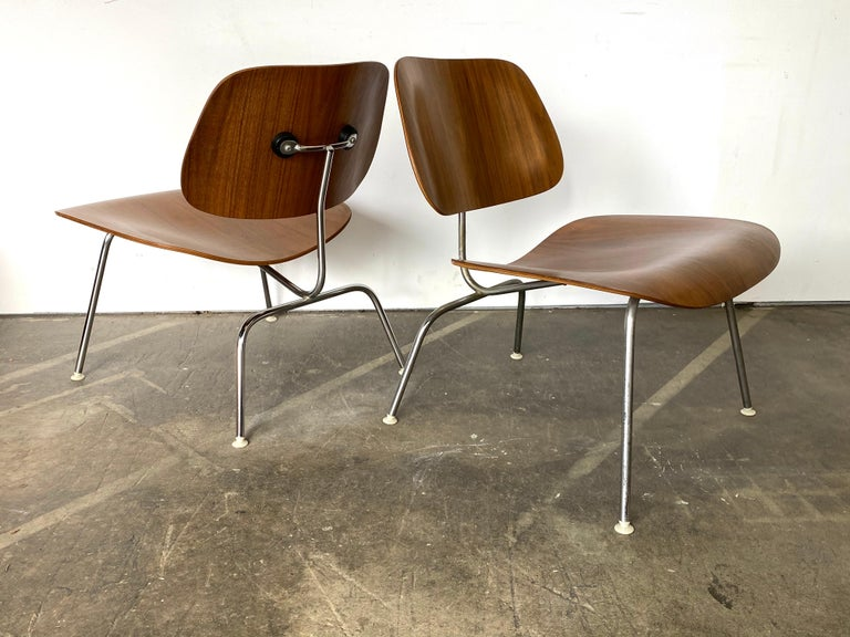 Two Herman Miller Eames LCM Chairs in Walnut 8