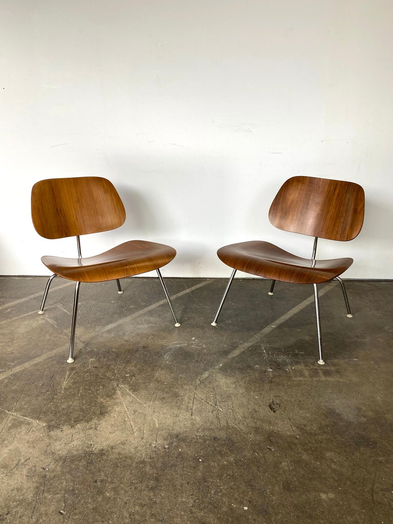 Mid-Century Modern Two Herman Miller Eames LCM Chairs in Walnut
