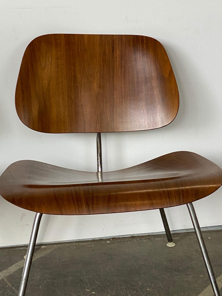 Steel Two Herman Miller Eames LCM Chairs in Walnut
