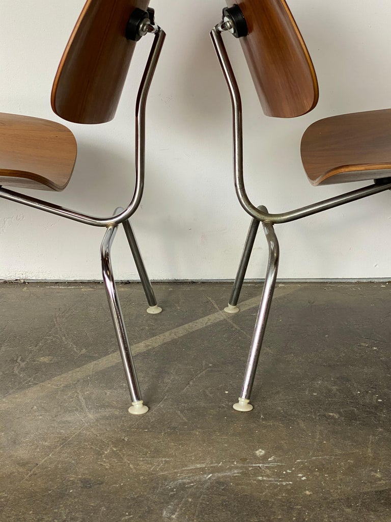 Two Herman Miller Eames LCM Chairs in Walnut 1