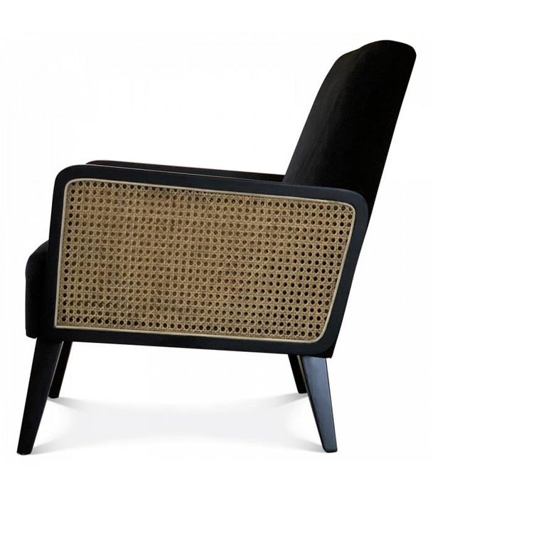 European Two Hermes Rattan Armchairs, French Modern Armchair in Vintage Style For Sale