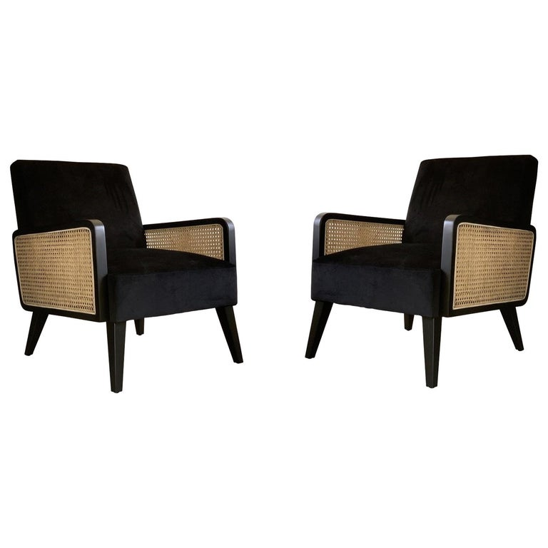 Two Hermes Rattan Armchairs, French Modern Armchair in Vintage Style For Sale