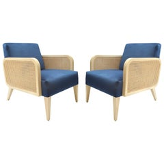Two Hermes Rattan Armchairs, French Modern Armchair in Vintage Style