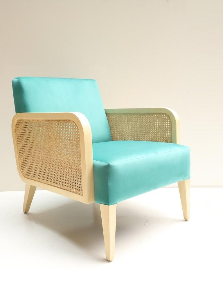 Asian Two Hermes Rattan Armchairs in Turquoise Velvet For Sale