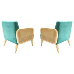 Two Hermes Rattan Armchairs in Turquoise Velvet