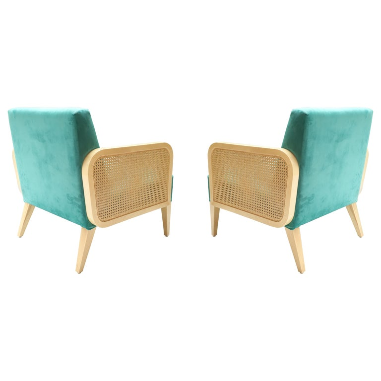 Two Hermes Rattan Armchairs in Turquoise Velvet For Sale