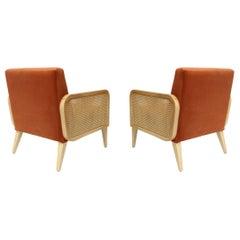 Two Hermes Rattan Armchairs in Vintage Orange Velvet