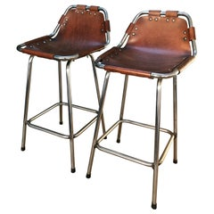 Two High Bar Stools Selected by Charlotte Perriand for the Les Arcs Ski Resort