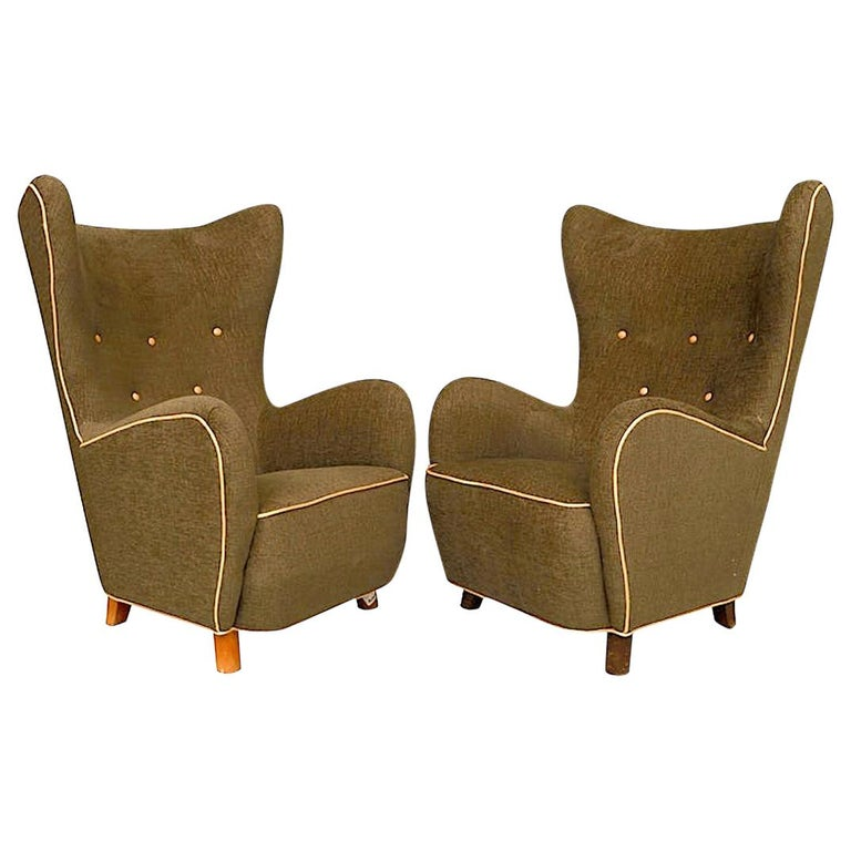 Two Highback Armchairs by Mogens Lassen For Sale