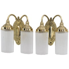Two Historistic Wall Lamps with Glass Sticks, circa 1890s