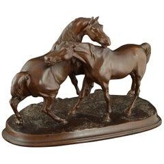 """Two horses"", Calamine, After Pierre-Jules Mene, Paris"