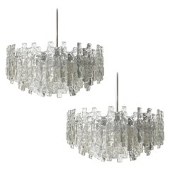 Two Huge Kalmar Chandeliers, Ice Glass and Nickel, Austria, 1960s