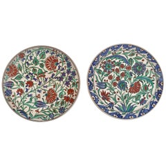 Two IKaros Hand Painted Carnations & Tulips Decorative Plates Rhodes, Greece