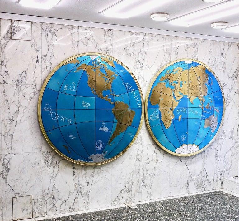 Zwei beeindruckende und riesige Weltkarten aus der Mitte des Jahrhunderts Wandkugeln, Österreich, 1950er Jahre 10