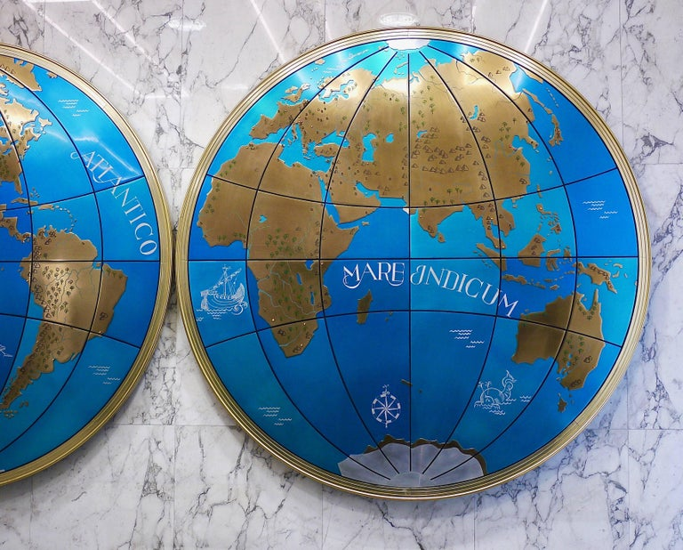 Two impressive and huge midcentury world map wall globes austria mid century modern two impressive and huge midcentury world map wall globes austria gumiabroncs Gallery