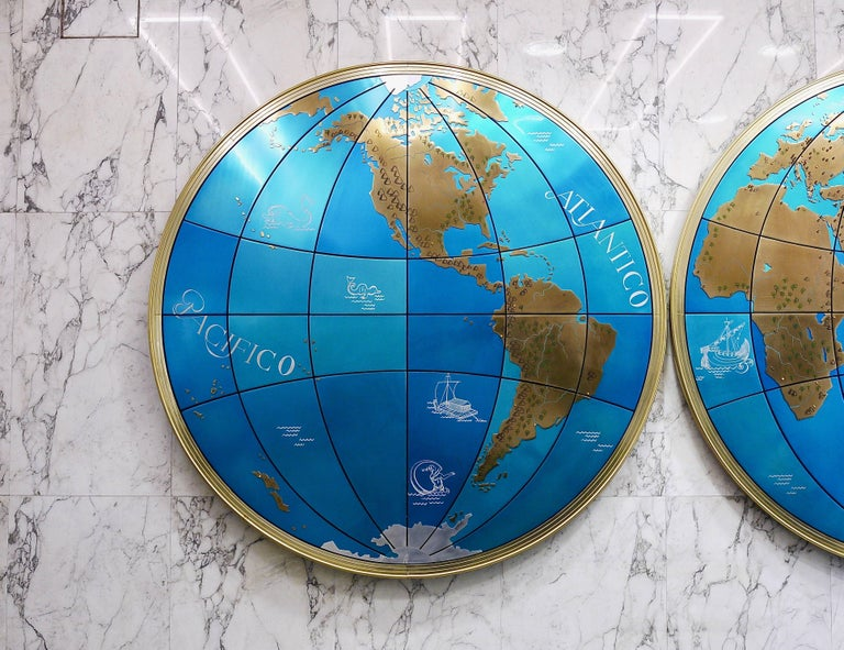 Zwei beeindruckende und riesige Weltkarten aus der Mitte des Jahrhunderts Wandkugeln, Österreich, 1950er Jahre 4