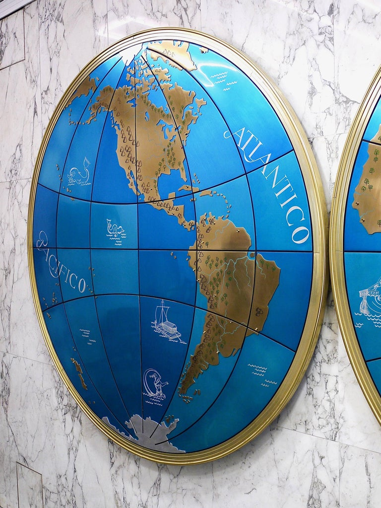 Two impressive and huge midcentury world map wall globes austria aluminum two impressive and huge midcentury world map wall globes austria 1950s for sale gumiabroncs Images