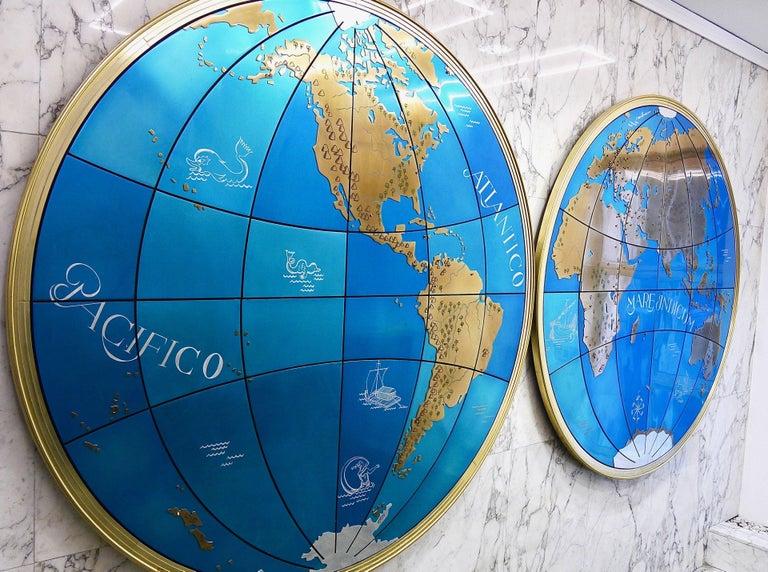 Zwei beeindruckende und riesige Weltkarten aus der Mitte des Jahrhunderts Wandkugeln, Österreich, 1950er Jahre 8