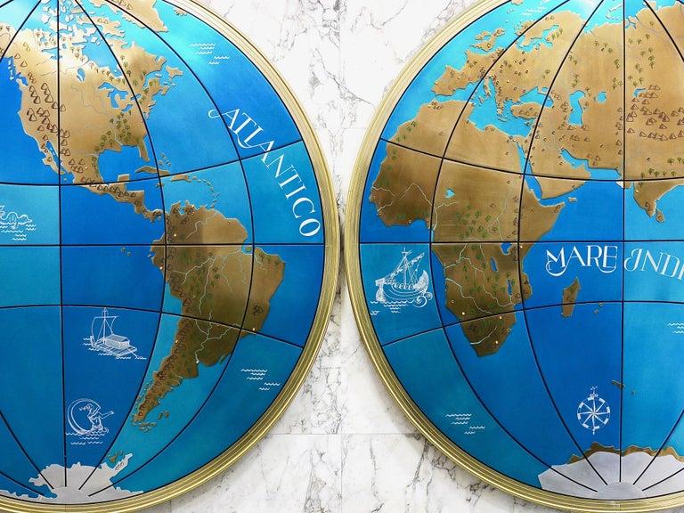 Zwei beeindruckende und riesige Weltkarten aus der Mitte des Jahrhunderts Wandkugeln, Österreich, 1950er Jahre 9
