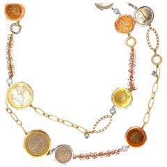 Detachable Traveler's Coin and Diamond Chain Necklace in 18 Karat Gold