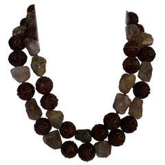 Two Individual Carved 20mm Wood Smokey Quartz Gemstone Necklaces