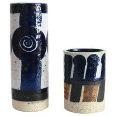 Two Inger Perrson, Rorstrand Studio Ceramic Vases in Blue, Black and White